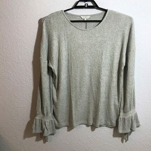 Lucky Brand Tie Sleeve Ribbed Grey Pullover Top